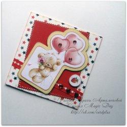 Открытки ко дню Святого Валентина своими руками с мишкой