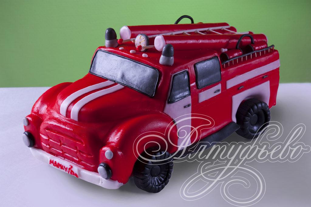 Пожарная машина торт без мастики