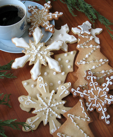Новогоднее печенье, украшение, снежинки