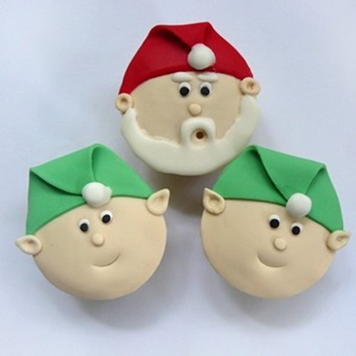 Новогодние кексы, украшение кексов к Новому году, новогодние капкейки